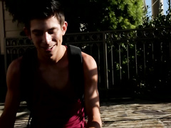 Beauty brunette twink loves to fuck with giant dildo