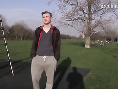 Attractive guy gets paid for his first gay sex action