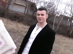 Sexy handsome young guy earns money by sucking stranger's dick