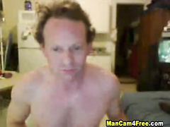 Bald as a coot twink is pleasuring exciting masturbation