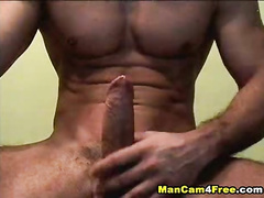 Twink with strong tight body is cumming on his chest