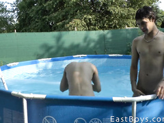 Naughty gays have fun in the swimming pool