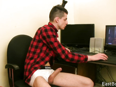 Guy in checked shirt online masturbation show