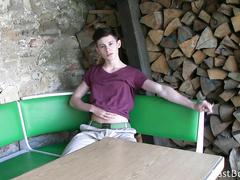 Kinky gay guy masturbating in the café