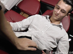 Guy with pins on nips gets masturbated