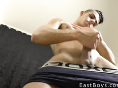 Young boy shows his great masturbation skills