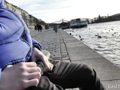 Lonely amateur boy outdoor masturbation