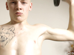 Amateur boy shakes his cock before camera
