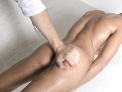 Guy worships booty and cock of young boy