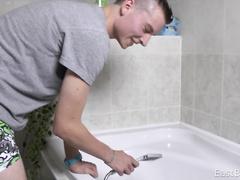 Man reaches self cum while taking shower