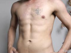 Erotic gay strip followed by masturbation